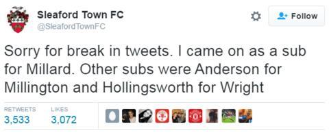 Sleaford Town tweet