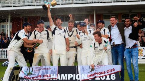 Middlesex lift the County Championship cup at Lord's