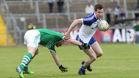 Fermanagh's Niall Cassidy gets to grips with Karl McConnell as Fermanagh go down 1-20 to 0-13 in the last-four clash in Cavan