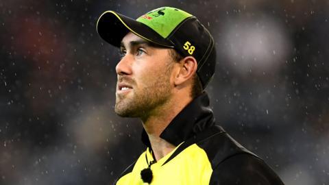 Australia all-rounder Glenn Maxwell looks on during a Twenty20 international against India