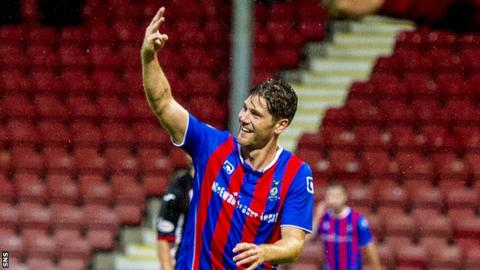 Inverness midfielder Iain Vigurs celebrates his third goal at Dunfermline