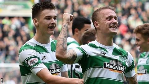 Celtic's Kieran Tierney and Leigh Griffiths