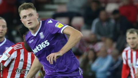 Harry Souttar in action for Stoke