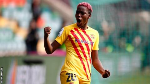 Barcelona and Nigeria's Asisat Oshoala celebrates a goal in the Spanish Super Cup