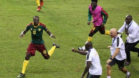 Cameroon players celebrate Vincent Aboubakar's winner in the 2017 Africa Cup of Nations final