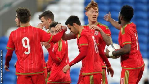 Wales Under-21 in action against Bulgaria