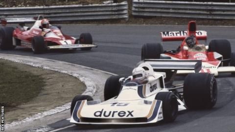 Alan Jones in the Surtees, James Hunt in the McLaren and Niki Lauda in the Ferrari at the 1976 British Grand Prix at Brands Hatch