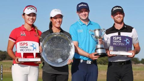Amateur winners Yae Eun Hong of South Korea (left) and Blake Windred of Australia pose with professional winners Celine Boutier of France and David Law of Scotland