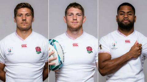 England's Piers Francis, Ruaridh McConnochie and Joe Cokanasiga