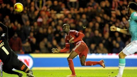 Albert Adomah puts Middlesbrough ahead against Derby at the Riverside
