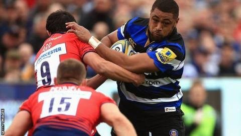 Bath, Wales and Lions number eight Taulupe Faletau powers his way through the visitors' defence
