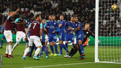 Cheikhou Kouyate scores for West Ham United against Leicester City