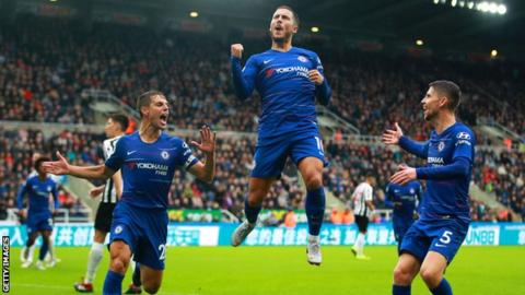 Eden Hazard celebrates