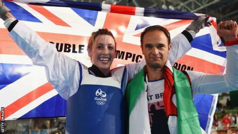 Jade Jones and her coach Paul Green celebrate after the Welsh fighter won taekwondo gold at the 2016 Olympics in Rio