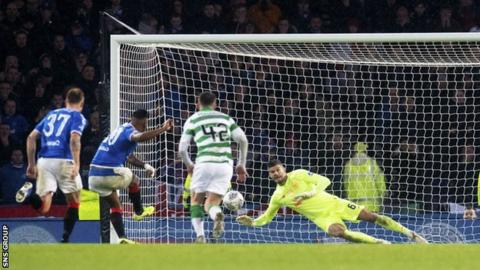 Alfredo Morelos' penalty was saved by Fraser Forster