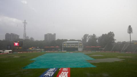 The waterlogged pitch in Harare at the end of West Indies versus Scotland