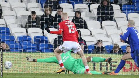 One of Oli McBurnie's nine goals for Barnsley came in their 2-1 defeat at Cardiff City in March