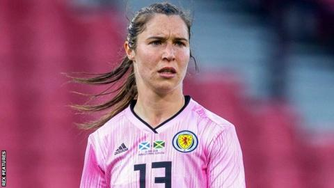 Jane Ross in action for Scotland Women