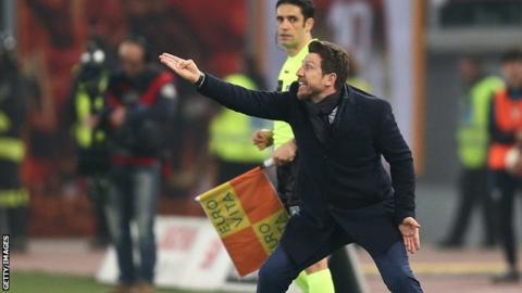Sacked Roma boss Eusebio di Francesco gestures during his side's Serie A defeat by rivals Lazio