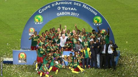 Cameroon celebrate winning the 2017 Africa Cup of Nations
