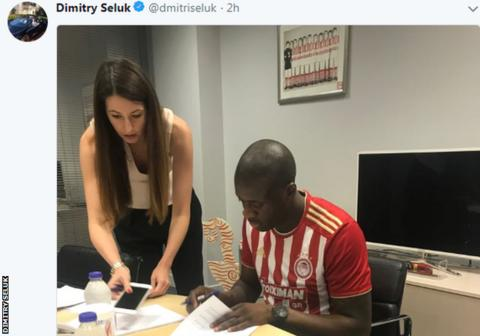 Toure's agent Dmitry Seluk tweeted an image of the midfielder signing papers in the Olympiakos home shirt