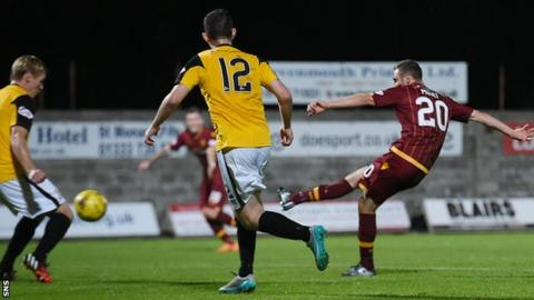 Louis Moult scores for Motherwell against East Fife