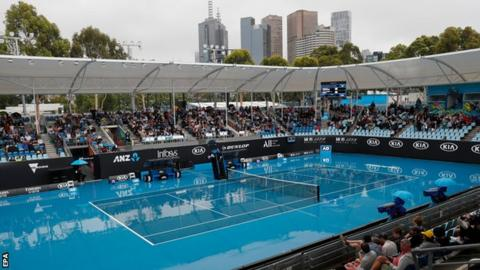 A rain-soaked outside court at the Australia Open