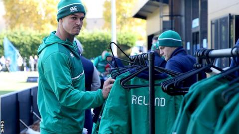 Johnny Sexton during Ireland training on Wednesday