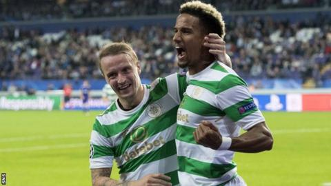 Leigh Griffiths congratulates Celtic team-mate Scott Sinclair on his late goal in Brussels