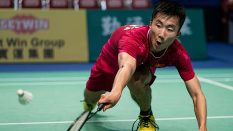 HONG KONG, HONG KONG - MARCH 23: Lu Guangzu from China during the Badminton Asia Mixed Team Championships 2019 Tong Yun Kai Cup quarter finals at the Queen Elizabeth Stadium Arena on March 23, 2019 in Hong Kong. (Photo by Ivan Shum - Clicks Images/Getty Images)