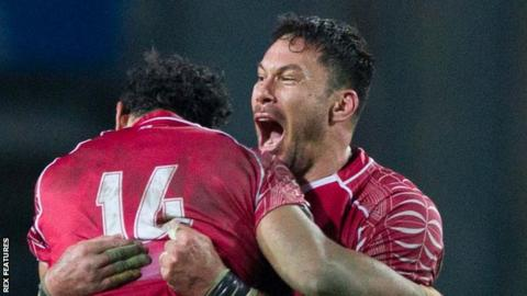 Tonga celebrate beating Italy in November, 2016