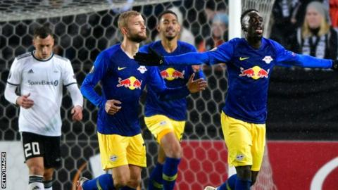 RB Leipzig are on three points in Europa League Group B after beating Rosenborg and losing to Salzburg