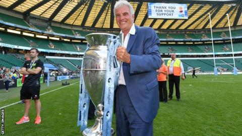 Nigel Wray with the Premiership trophy