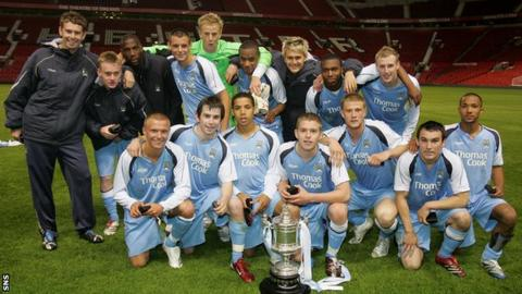 Marc Laird with his Manchester City academy team-mates