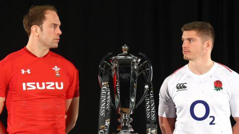 Wales' Alun Wyn Jones and England's Owen Farrell