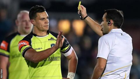 Matt Toomua received a yellow card for a tip-tackle
