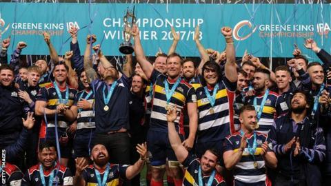 Bristol celebrate winning the RFU Championship title