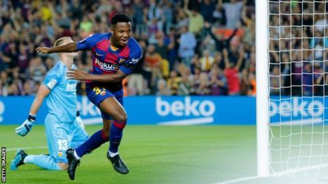Ansu Fati celebrates scoring against Valencia