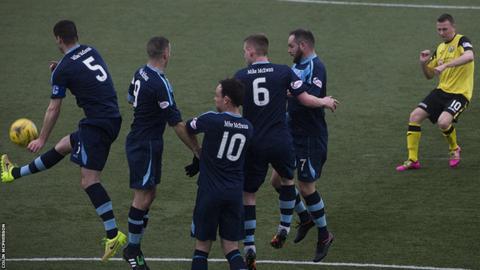 Former Scotland forward Derek Riordan takes a first half free-kick on his full debut for City