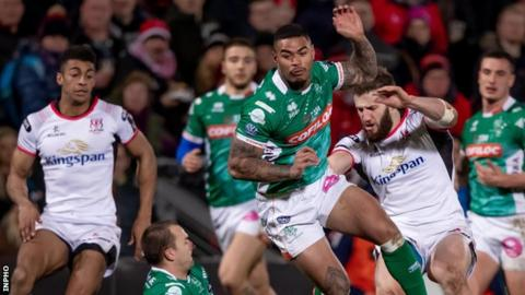 Stuart McCloskey and Robert Baloucoune in action against Dewaldt Duvenage and Monty Ioane