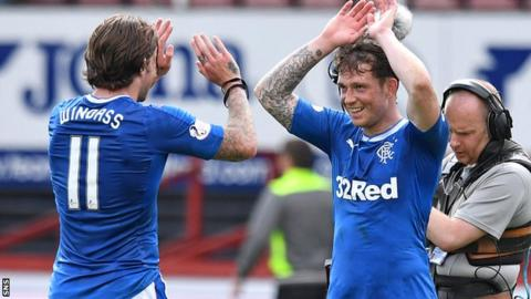 The Rangers players were in jubilant mood after winning it late on