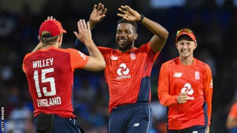 England win T20 series after bowling out Windies for 45
