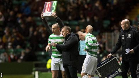 Brendan Rodgers issues Scott Brown and Leigh Griffiths with instructions in the Celtic technical area