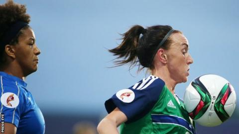 Northern Ireland's Kerry Montgomery battles with Italy's Sara Gama at Mourneview Park