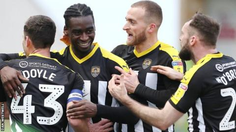 Notts County celebrate at Forest Green
