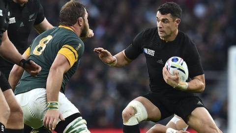 Dan Carter takes on Duane Vermuelen during new Zealand's semi-final win over South Africa