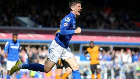 Rob Kiernan's celebrates his only goal for Blues in his loan spell