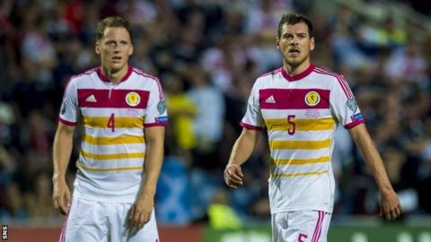 Scotland team-mates Christophe Berra and Gordon Greer (right) in action against Gibraltar