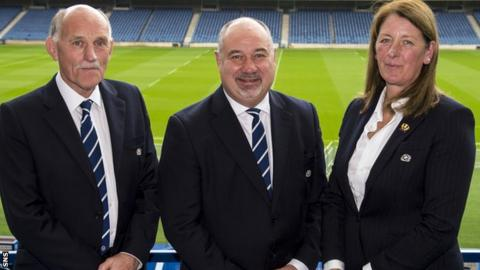 Scottish Rugby president Rob Flockhart and chief executive Mark Dodson and vice-president Dee Bradbury