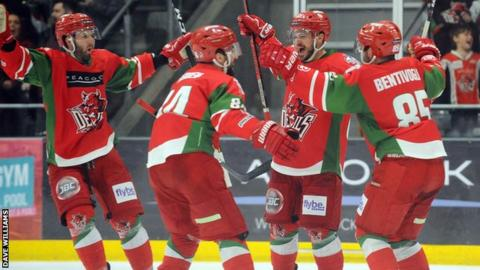 Cardiff Devils celebrate during the 2018/19 season